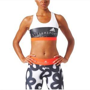 Adidas Stellasport White Orange Sports Bra Small